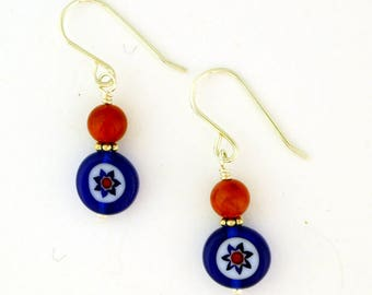 Red, White and Blue Glass and Bamboo Coral Earrings