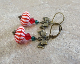 Peppermint Holiday Bow Earrings