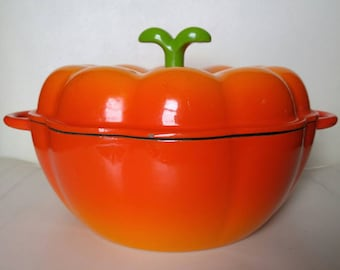 Ilsa Pumpkin Dutch oven , Enameled Cast Iron by Ilsa , 3.5 Qt. , Made in Italy , Orange , htf , Thanksgiving , Fall decor