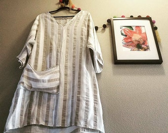 Summer Tunic (Linen) with pocket in stripes (cream and wheat) SMALL/Medium up to size 10