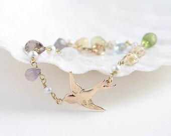 Swallow Bracelet ~ Wire Wrapped Multi Stone Chain ~ Peridot, Blue Topaz, Amethyst, Quartz ~ 14K GF Swallow ~ Dainty Gemstone Bracelet