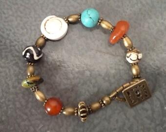 Ethnic Carnelian Turquoise Bracelet, Turquoise Carnelian Bracelet, Ethnic Turquoise Bracelet, Multi Stone Bracelet
