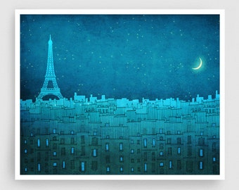 Paris illustration - The Eiffel tower in PARIS (landscape) - Art Illustration Print Poster Paris decor Wall art Architecture Blue Turquoise