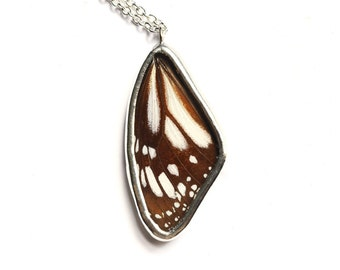 Real Butterfly Wing Necklace. REAL BUTTERFLY Pendant. Real Butterfly Jewelry.  White Monarch Wing Necklace. Preserved Butterfly Necklace.