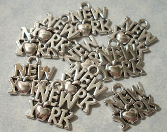 25 New York Charms 14 x 14mm  State Charms Big Apple Charms