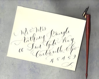 Calligraphy envelope addressing - diagonal style