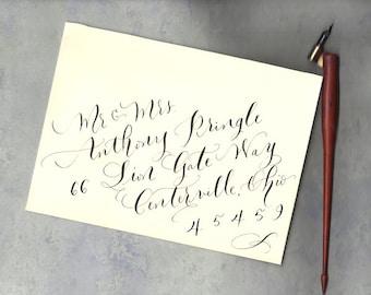 Calligraphie enveloppe abordant - style diagonale