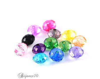 50 acrylic Mix assortment M02218 10x7mm faceted beads