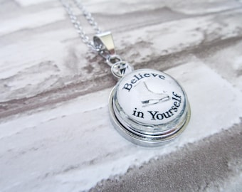 BELIEVE IN YOURSELF Figure Skating Charm Snap Button Jewelry Necklace Ice Skating Gift for Skaters