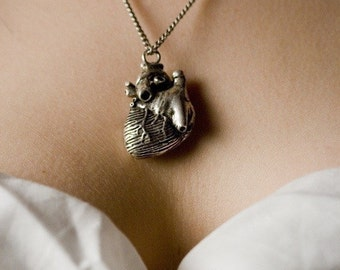 Anatomical Heart Necklace in antique silver your choice of chain lengths (Original Design & Made in NYC) buy online