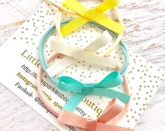 Cream hair bow, mint hair bow, peach hair bow, lemon bow, baby bow, tie knot bow, girls hair accessories, wedding hair, christening