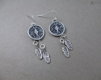 Compass Feather Earrings - Silver