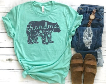 Grandma Bear Shirt // Floral Grandma Bear Shirt // Charcoal Ink // Grandma Shirt // Gift For Grandma