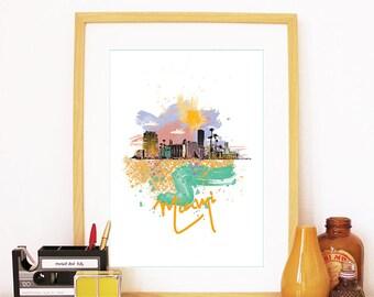 Miami Print, Miami Skyline, Miami Art, Miami Poster, Miami Watercolor, Miami Art Print, Miami Map, Miami Wall Art, Miami Florida, Florida