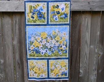 Walking on Sunshine Cotton Fabric Panel In Blue and Yellow by Wilmington Prints