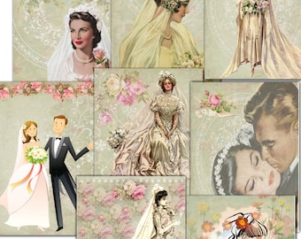 INSTANT DOWNLOAD  Bridal Tags - Cards  -  Printable Digital Collage Sheet -