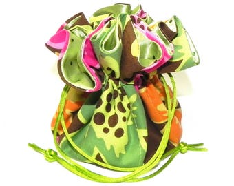 Jewelry Drawstring Travel Bag - Organizer bridal Pouch - Floral in Lime green,pink, orange and brown fabric with green sequin satin