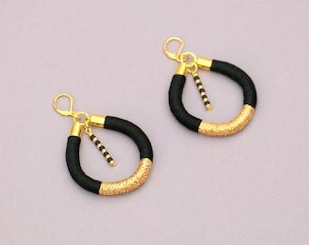 Black And Gold Statement Hoop Earrings