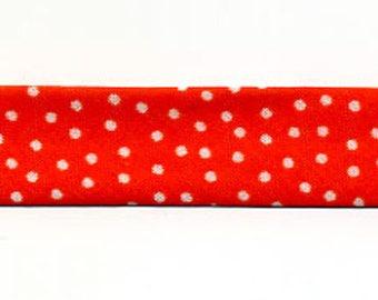 Orange bias by the meter, small white polka dots, 100% cotton