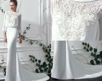Chanelle - Nuage Volant Sheath/Straight Silk Wedding Dress with Train