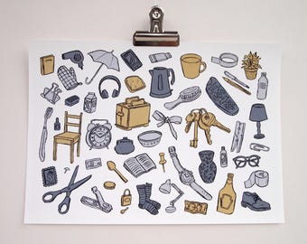 Everyday Objects Illustration A4 Art Print | Scandinavian Colours