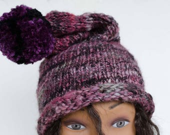 Knit Purple and Black Slouch Hat  With Pompom/ Unisex Hat OOAK Hand Spun Yarn
