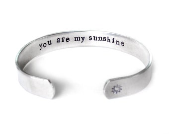 mom gift, you are my sunshine jewelry, secret message cuff bracelet, best friend jewelry, gift for daughter, inspiration jewelry, handmade