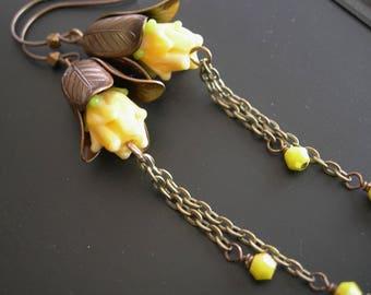 Yellow Rose Earrings, Smoky Quartz Earrings, Brown Gemstone Earrings, Long Earrings, Glass Rose, Brass Magnolia Earrings Root Chakra Healing