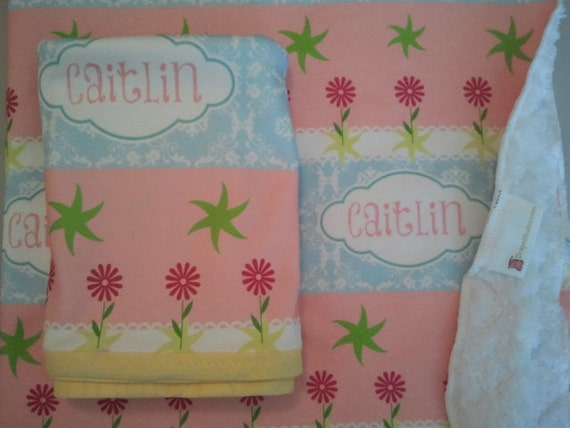 Seaside Cottage Garden -  Personalized Organic Cotton Baby Blanket, Toddler Throw Blanket, Shabby Chic Girl Blanket