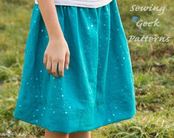 Moo Skirt - Girl's Skirt PDF Sewing Pattern. Baby Pattern. Toddler Pattern. Easy Sew. Sizes 3 months to 14