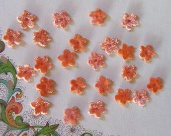 24 Velvet Forget Me Not Flowers Millinery Flower Making Or Scrapbooking Orange