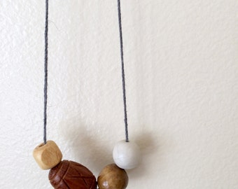 Maple  / Clay and Wood Bead Necklace