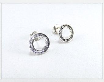 Silver Circle Earrings • Hoop Earrings • Filigree Gold Circle • Filigree Earrings • Women Jewelry • Handmade Jewelry • Paola Siza Jewelry