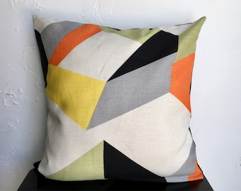 Geometric Pillow Cover, Geo Prism Modern Throw Pillow, 18x18 Decorative Pillow Cover, Orange, Lime, Gray, Yellow Pillow Cover, black Linen