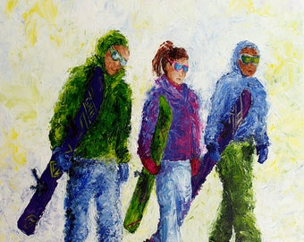 All on Board! Park City, Utah  Original Acrylic Painting 24 x 30 inches Framed