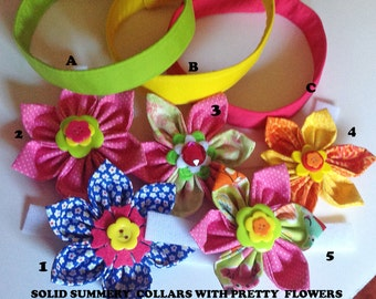 Pink, Yellow or Green Girl Dog Summer Flower Collar with Velcro Fastener