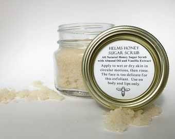 Honey Sugar Scrub - Handmade - All Natural - Raw Honey - Vanilla - Exfoliant - Helms Honey