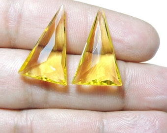 2 Pieces Beautiful Yellow Quartz Faceted Triangle Shaped Beads Size 25X15 MM