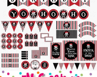 Pirate Birthday Party Printable Decorations Package - Pirate Party Birthday Banner Cupcake Toppers - Red Black Pirate - Instant Download Pdf