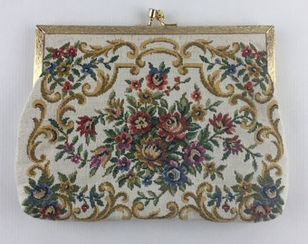Vintage Dressy Purse in Floral Fabric with Gold Metallic Closure and Chain Strap