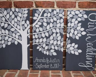 Alternative Guestbook Tree Wedding Art Custom Design Large Wedding Decoration Gray White Vows Always and Forever Our Wedding Bridal Gift
