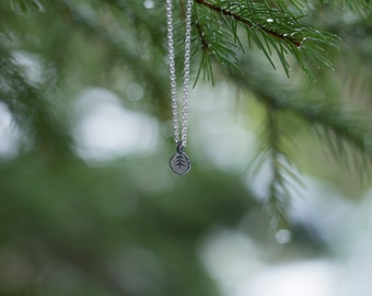 Outdoors Gift, Gift for Her, Forest Necklace, Silver Tree Necklace, Girlfriend Gift, Pine Tree Jewelry, Dainty Necklace, Tree Charm