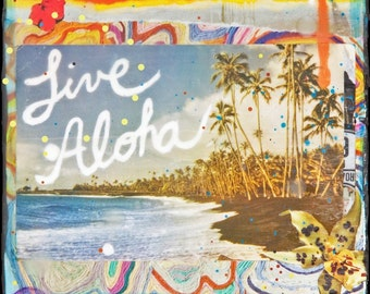 GLASSED, LIVE ALOHA, 4x4 and Up, All Time Best Seller, Aloha, Hawaii, Hand Painted, Hand-Glassed, ocean, Hawaii, Beach, tropical, wall art