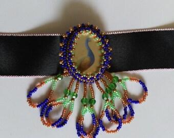 Beadwoven Peacock Pendant, Colorful Peacock, Bird Choker, OOAK Green Blue Gold Peacock Necklace - Black Silk Bird Choker by enchantedbeads