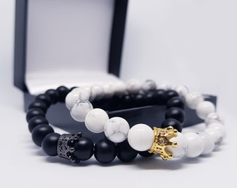Distance Bracelets with Box and Card | King and Queen Bracelets | For Lovers, Friends and Family | Strong Elastic (8mm Beads)