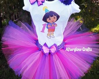 Dora the Explorer Birthday Tutu Set, Dora Tutu, Dora Birthday Tutu, Dora Shirt, Dora Tutu Set, Dora Birthday Outfit, Dora Shirt,