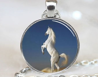 White Arabian Stallion Horse  Jewelry  Necklace Pendant (PD0316)