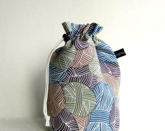Drawstring Bag Knitting Project Padded Pouch  - Wound Up in Khaki