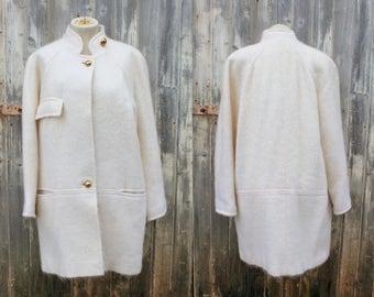 Vintage Ivory Mohair Wool Oversized Coat