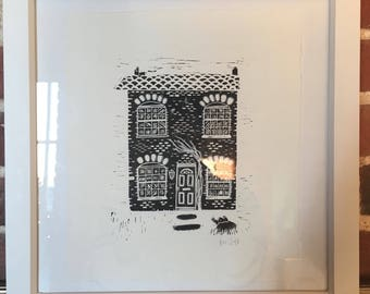 Little Cottage Lino Print
